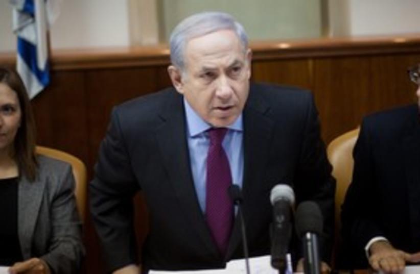 Netanyahu leaning 311 (photo credit: Emile Salman)