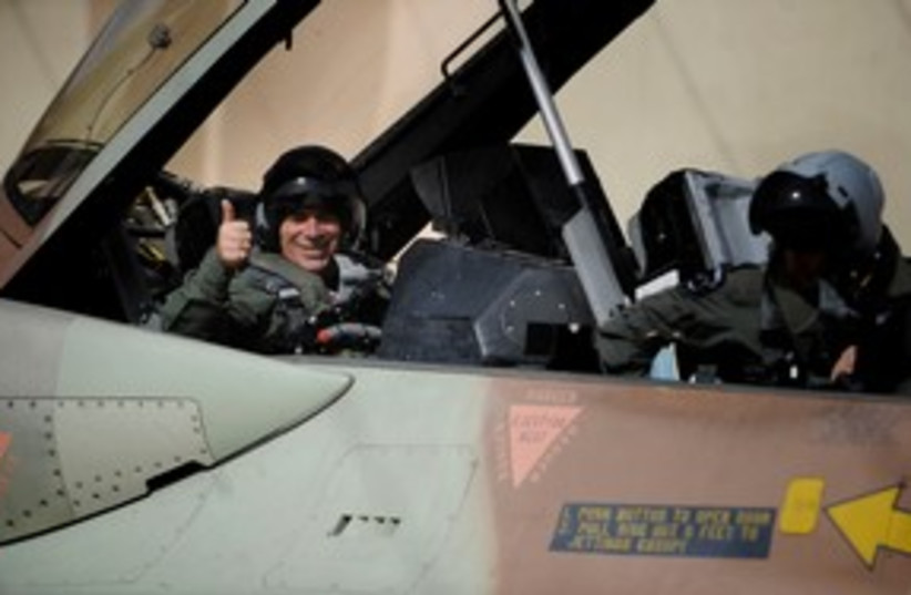 Gabi Ashkenazi in fighter jet 311 (photo credit: IDF Spokesperson)