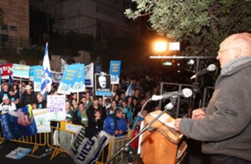 Noam Schalit at equal IDF service rally 311 (photo credit: Marc Israel Sellem)
