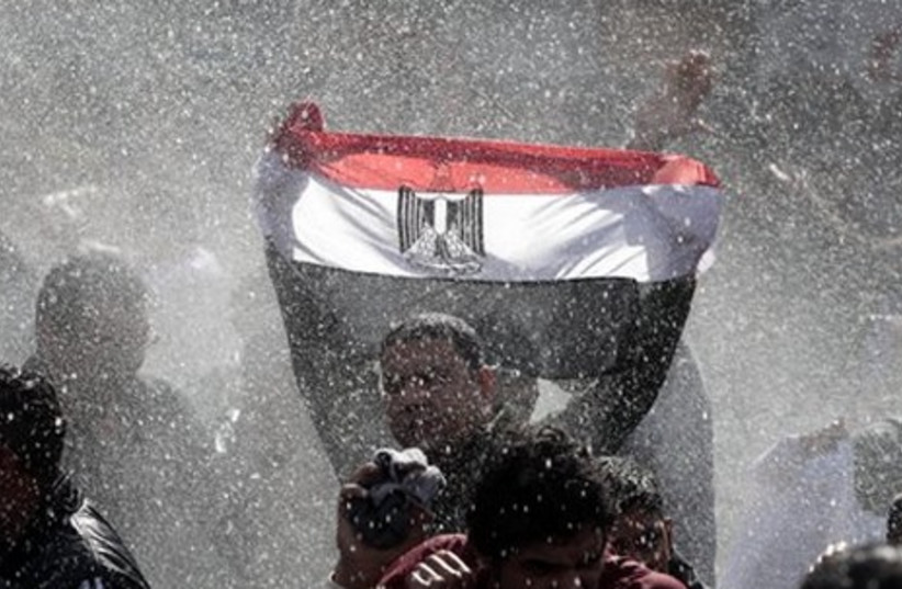 Egyptian protester with flag, water cannon - Gallery (photo credit: AP)