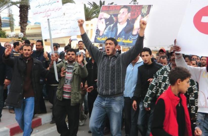 demostration in Sidi Abu Zeid (photo credit: Eldad Beck)