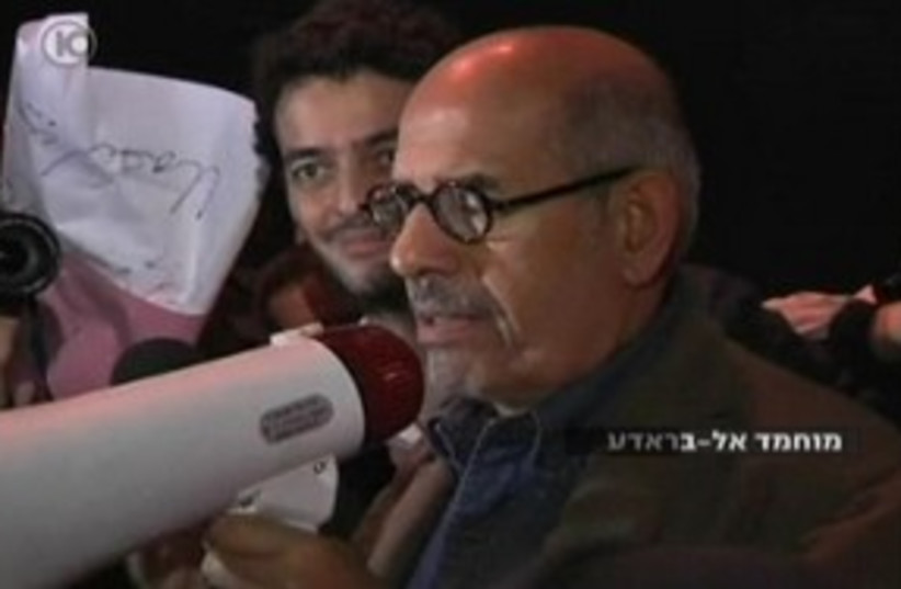 Mohamed ElBaradei in Tahrir Square 311 (photo credit: Channel 10)