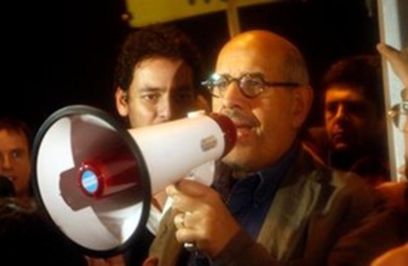 Mohamed ElBaradei speaking bullhorn 311 AP (photo credit: AP)