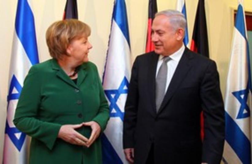 German Chancellor Angela Merkel with PM Netanyahu 311 (photo credit: Marc Israel Sellem)