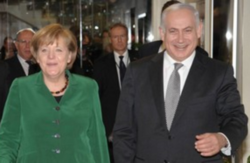 German Chancellor Angela Merkel with PM Netanyahu 311 (photo credit: Amos BenGershom)
