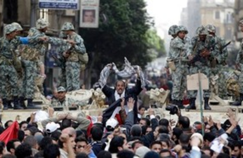 Egypt protest soldiers 311 (photo credit: Associated Press)