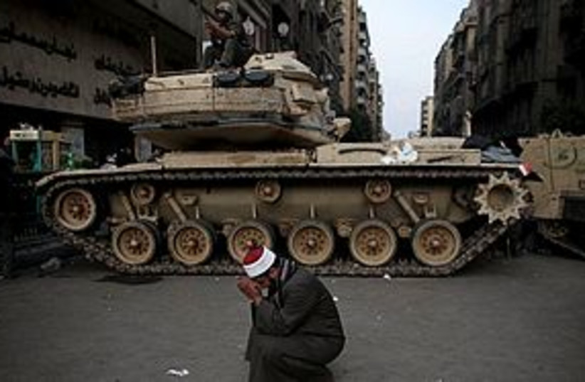 Egypt protests tank 311 (photo credit: Associated Press)