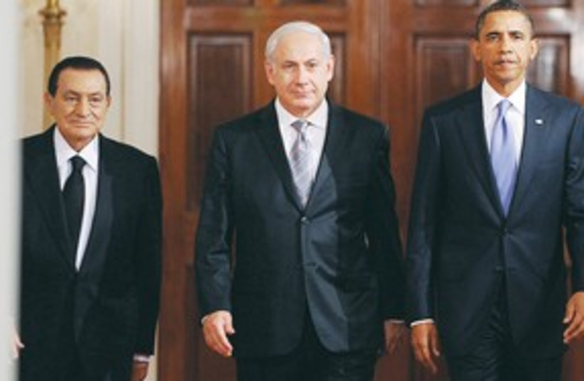 Netanyahu Obama Mubarak 311 (photo credit: mct)