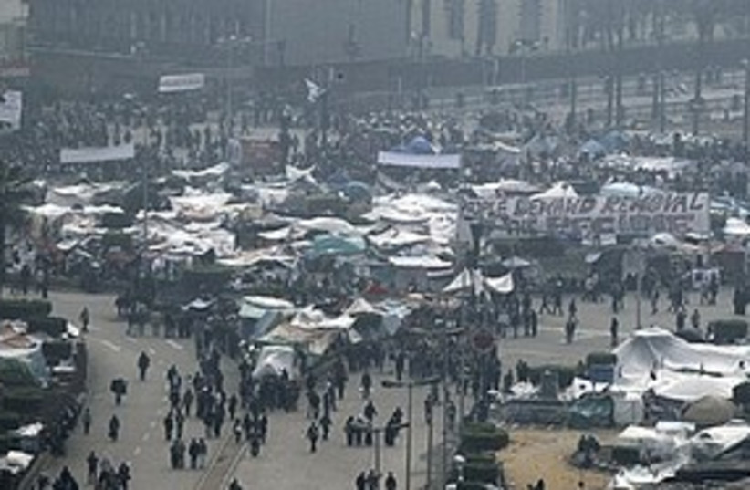Tahrir square protesters 311 AP (photo credit: Associated Press)