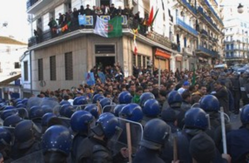 Algerian riot police banned rally 311 AP  (photo credit: AP)