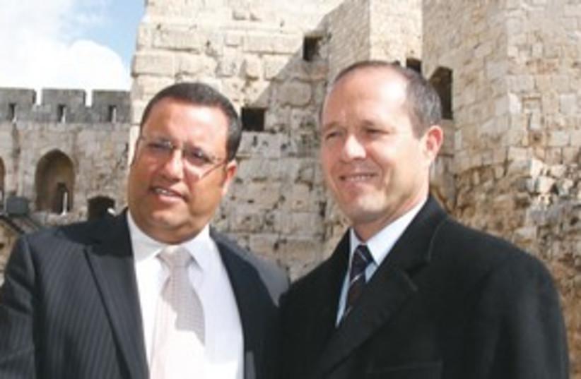Barkat and Moshe Leon 311 (photo credit: Marc Israel Sellem/The Jerusalem Post)