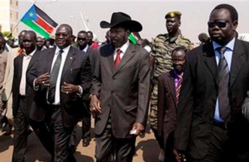 S. Sudan President Salva Kiir Mayardit cowboy hat 311 AP (photo credit: AP)