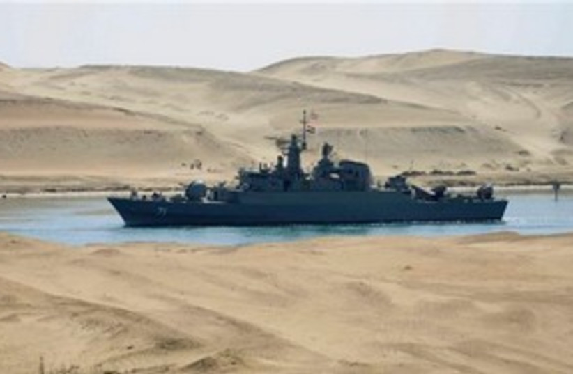 Iranian frigate (warship) 'IS Alvand' in Suez AP 311 (photo credit: AP)
