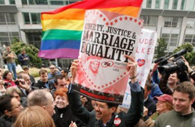 Gay marriage protest 311 AP (photo credit: AP)