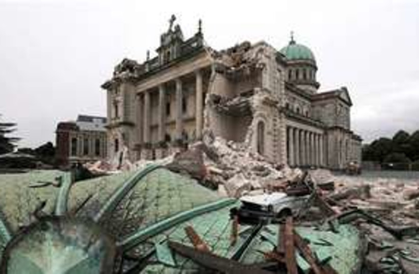 Destroyed cathedral in Christchurch 311 AP (photo credit: AP)