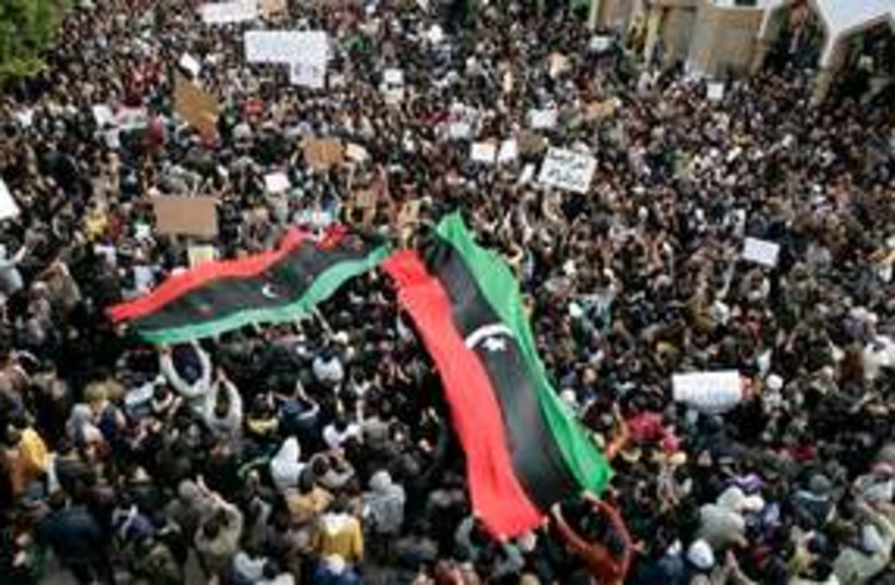 Libyan anti-Gaddafi protesters 311 AP (photo credit: AP)