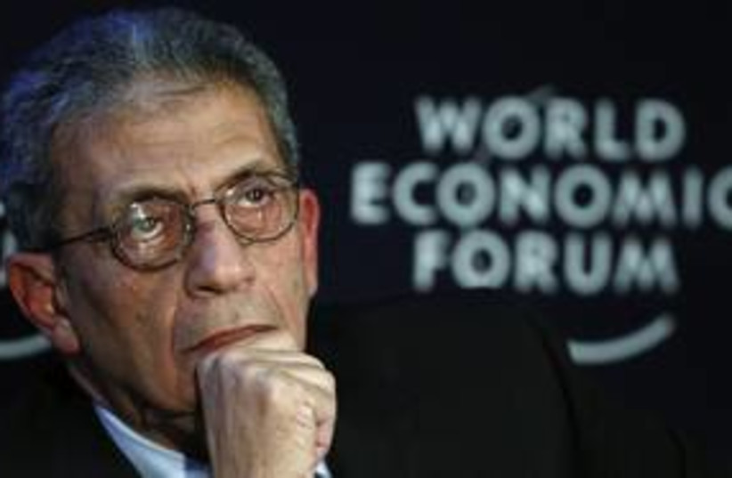 Amr Moussa pensive (R) 311 (photo credit: Reuters)