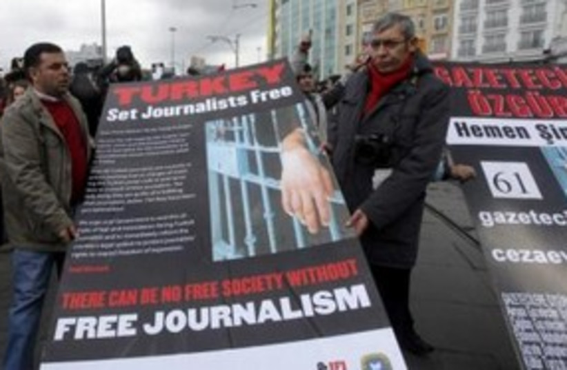 Turkey Journalists Protest 311 (R) (photo credit: REUTERS)