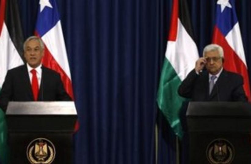 PA President Abbas, Chilean President Sebastian Pinera 311 R (photo credit: REUTERS/Mohamad Torokman)