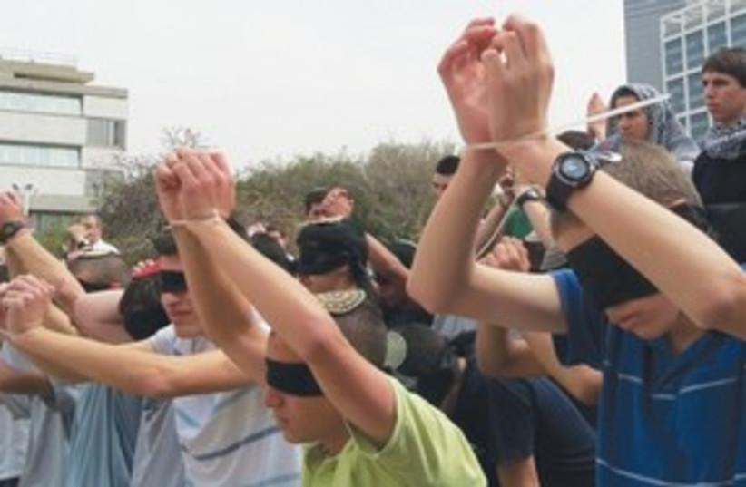 Students protest treatment of Gilad Schalit 311 (photo credit: Zeevi Levavi)