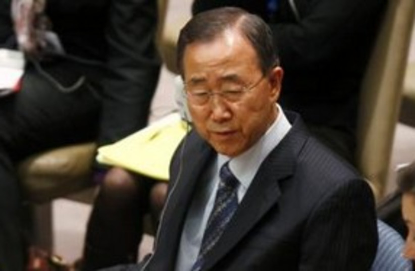 UN Secretary-General Ban Ki-moon 311 R (photo credit: REUTERS/ Joshua Lott)