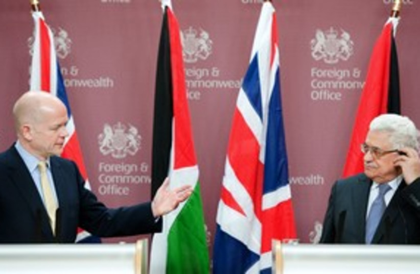 william hague and mahmoud abbas_311 reuters (photo credit: POOL New / Reuters)