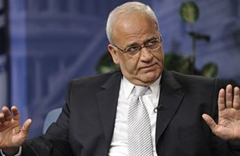 erekat raise the roof REUTERS 311 (photo credit: REUTERS)