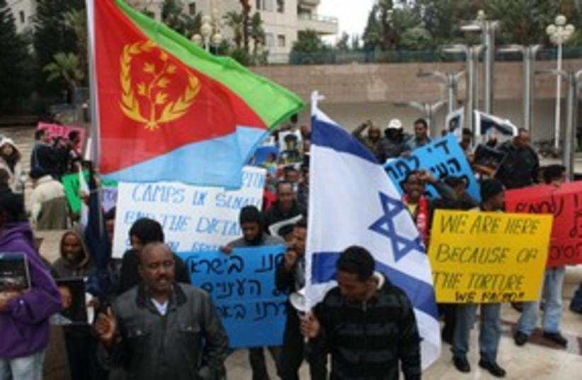 Eritrean protesters flags in Ramat Gan 311 (photo credit: Ben Hartman)