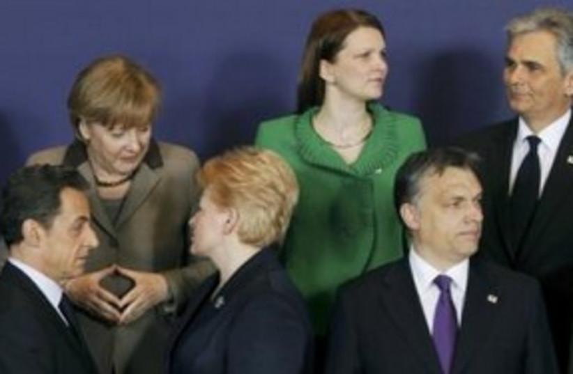 European Union leaders Sarkozy, Merkel 311 (R) (photo credit: REUTERS/Thierry Roge)