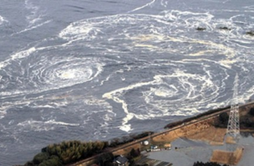 Whirlpools are caused by a tsunami in Fukushima