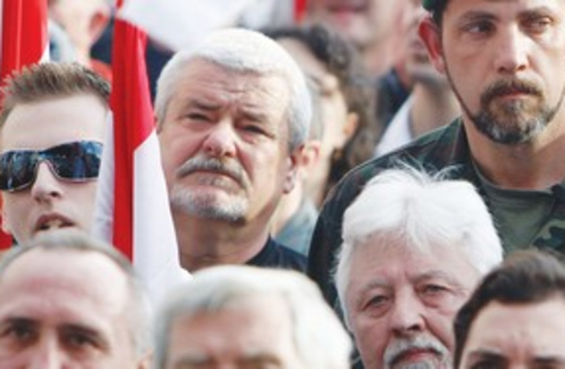 Hungarian Rebels Rally 311 (R) (photo credit: REUTERS)