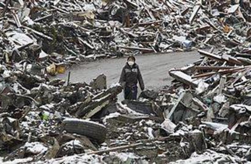 japan snow rubble 311 (photo credit: REUTERS)