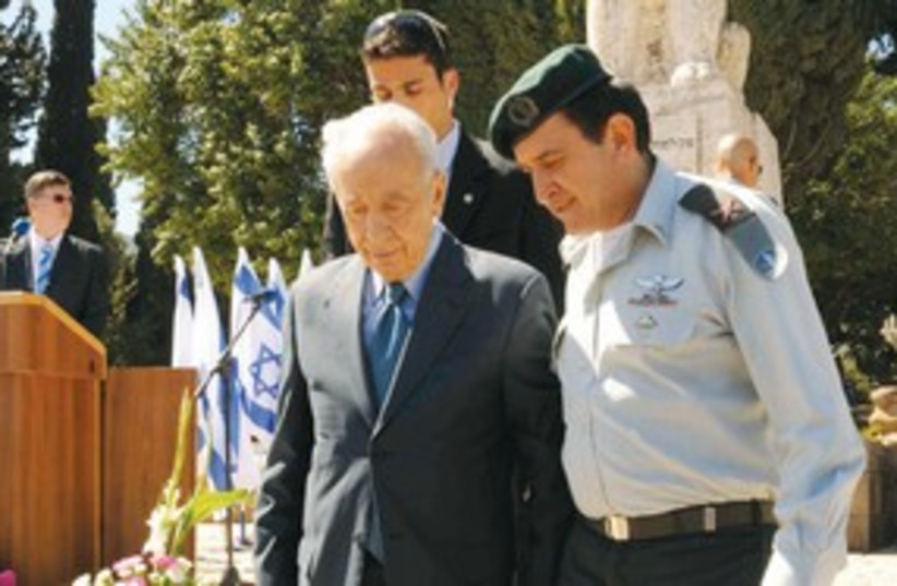 Peres in Tel Hai 311 (photo credit: Upper Galilee Local Council)