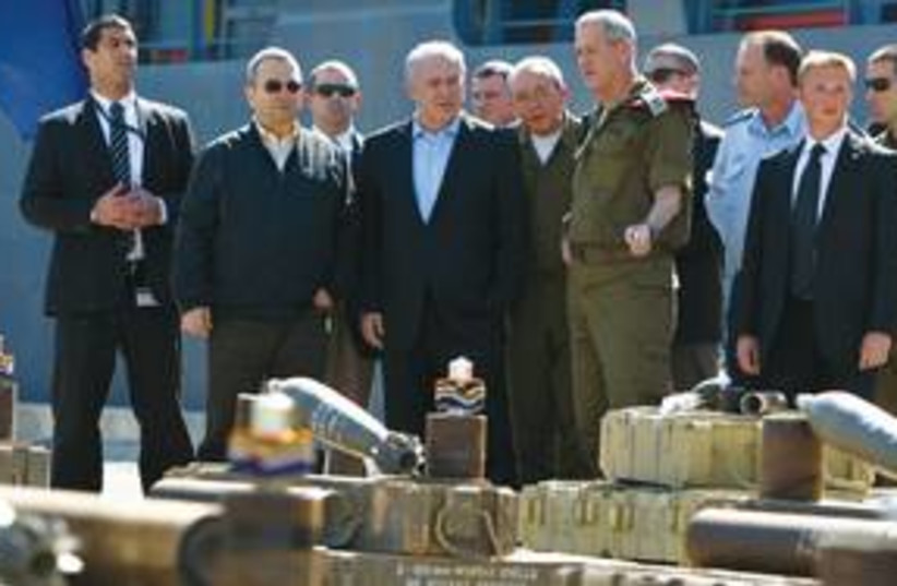 PM Netanyahu inspects Victoria weapons 311 (photo credit: REUTERS)