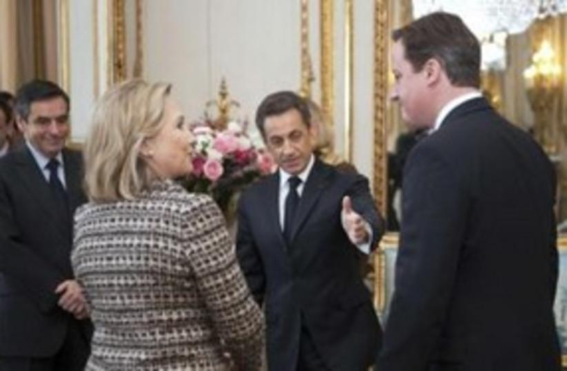 sarkozy cameron clinton_311 reuters (photo credit: REUTERS/Lionel Bonaventure)