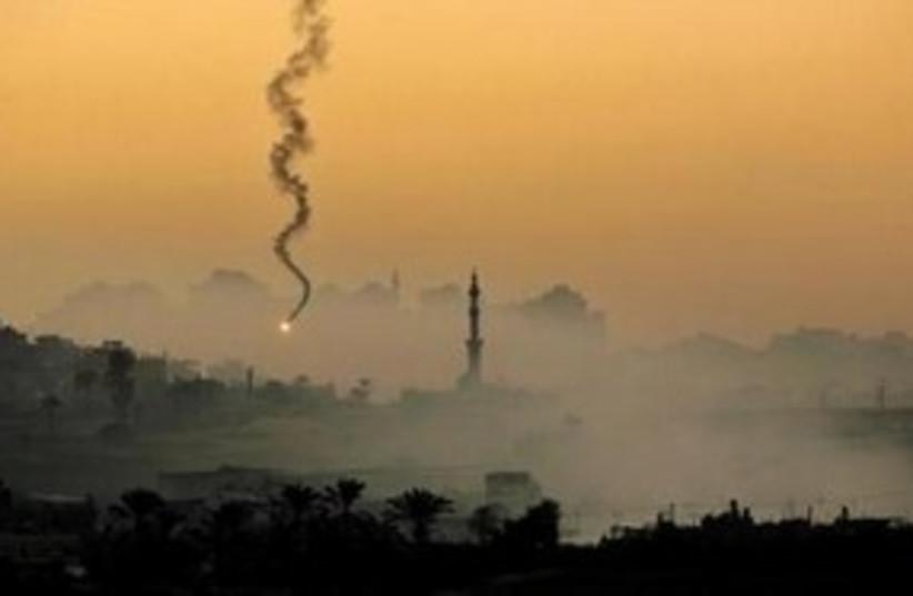 IAF fires flare airstrike Gaza 311 (photo credit: Reuterrs)