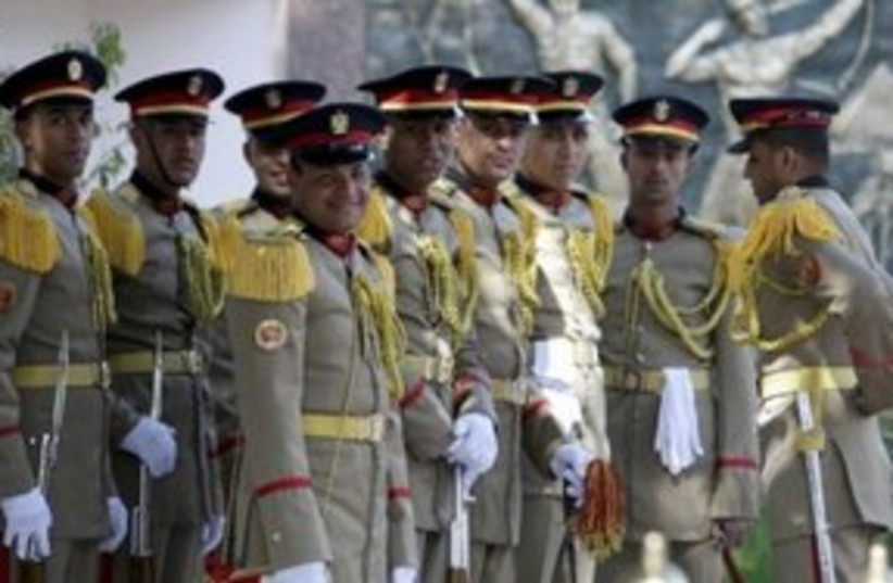 Egyptian honor guard in Cairo 311 (R) (photo credit: REUTERS/Amel Pain/Pool)