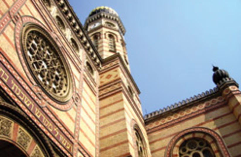 The exterior of Budapest's Central Synagogue (photo credit: Mya Guarnieri)