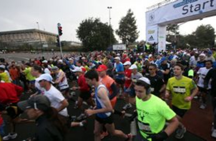 Jerusalem Marathon starting line 311 (photo credit: Jerusalem Municipality )