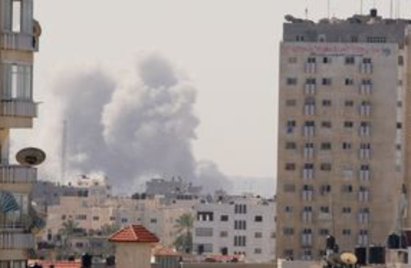 Explosion in Gaza City (photo credit: Reuters)