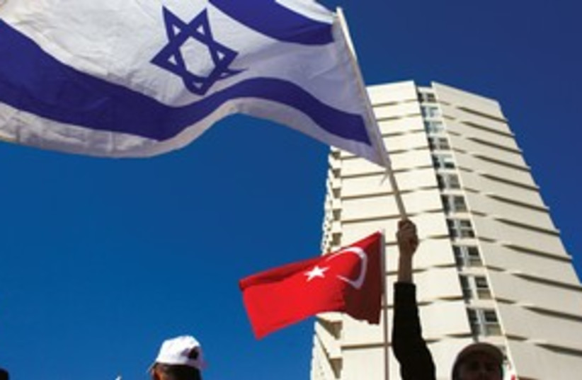 Turkish workers in Tel Aviv protesting tensions 311 (R) (photo credit: Reuters)