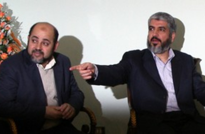 Hamas leaders Khaled Meshaal and Moussa Abu Marzouk 311 (R) (photo credit: Khaled Al Hariri / Reuters)