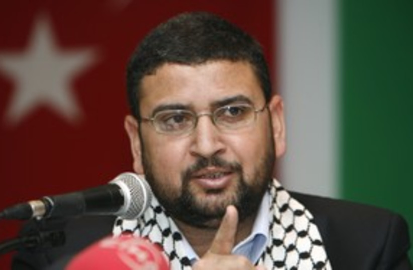 Hamas Spokesman Sami Abu Zuhri 311 (R) (photo credit: Osman Orsal / Reuters)