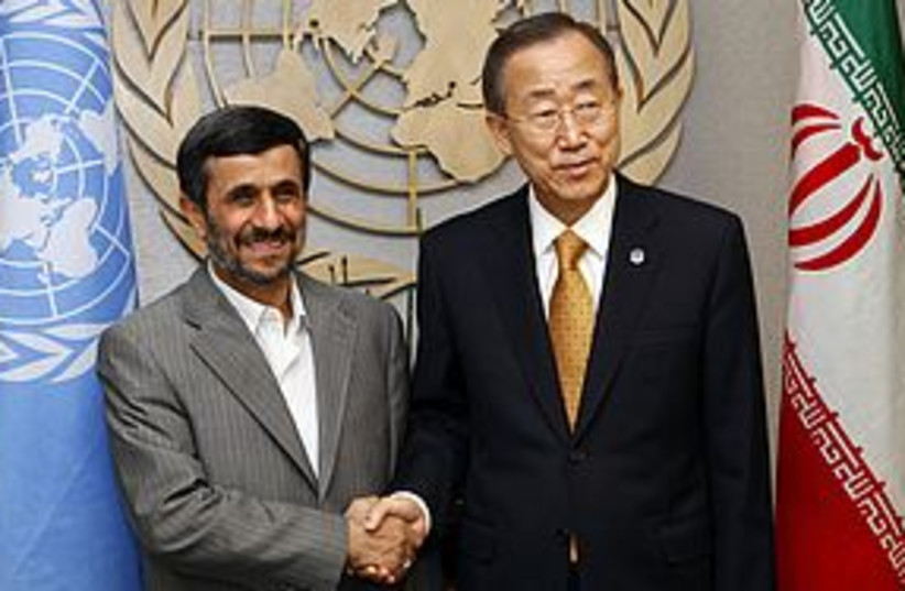 ahmadinejad ban ki-moon 311 (photo credit: REUTERS)