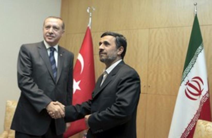 Erdogan and Ahmadinjad Turkey and Iran_311 (photo credit: Reuters)