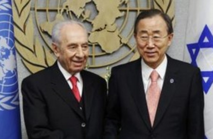 Peres with Ban in New York (R) 311 (photo credit: REUTERS/Lucas Jackson)
