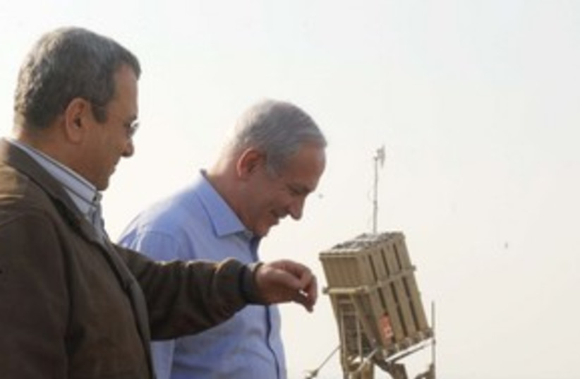Netanyahu with Barak at Iron Dome 311 (photo credit: Avi Ohayon / GPO )