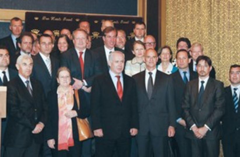 netanyahu with eu ambassadors_311 (photo credit: (Marc Israel Sellem/The Jerusalem Post))