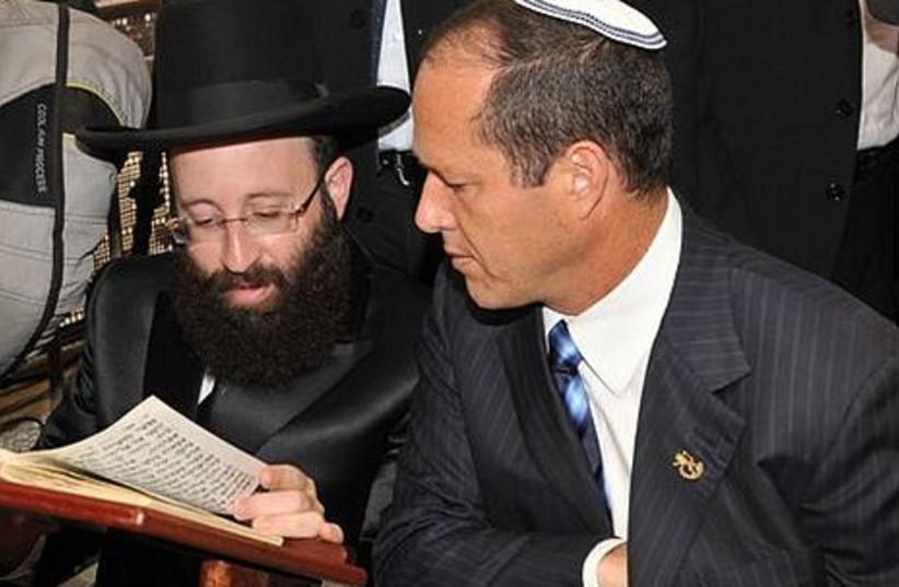 Mayor Nir Barkat and Kotel Rabbi Shmuel Rabinowitz