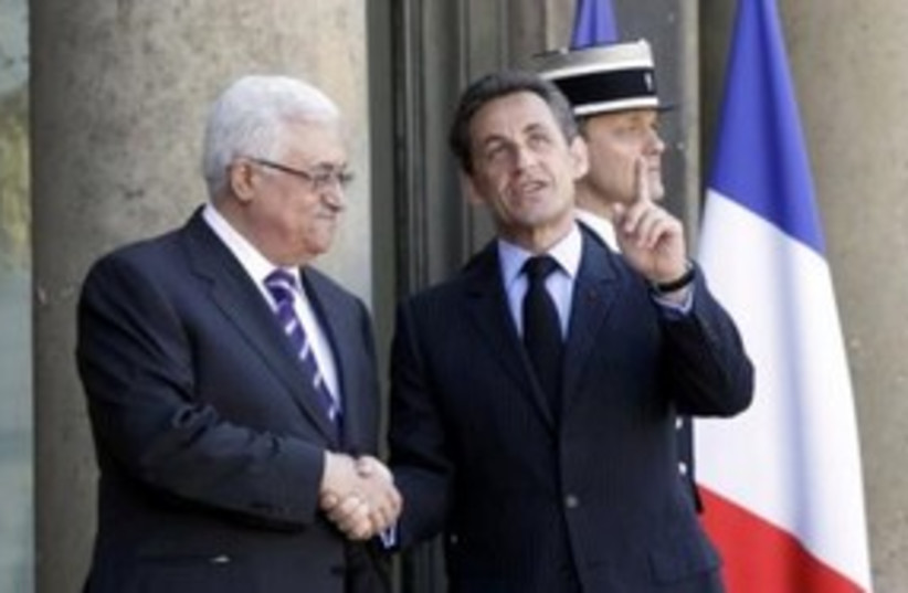 PA President Abbas, French President Sarkozy 311 (R) (photo credit: REUTERS/Jacky Naegelen)